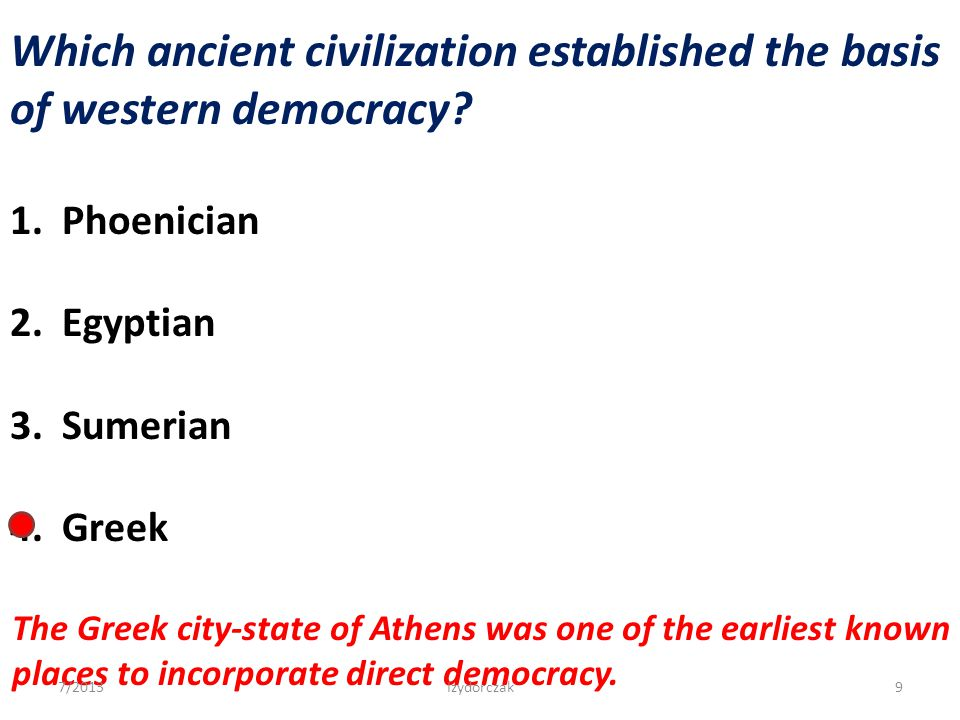 Which ancient civilization established the basis of western democracy