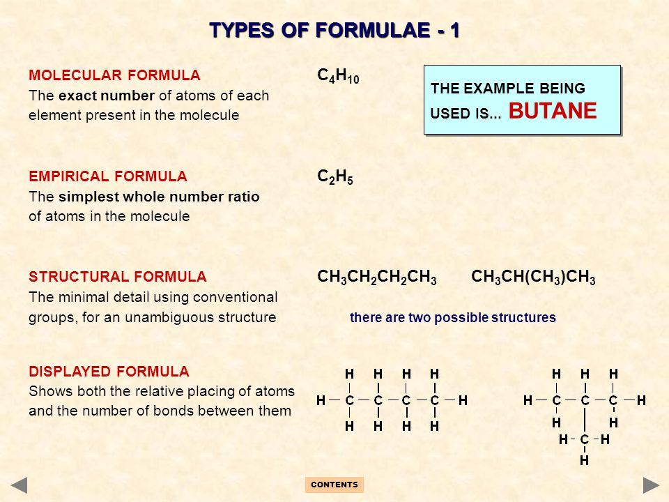 TYPES OF FORMULAE - 1 MOLECULAR FORMULA C4H10