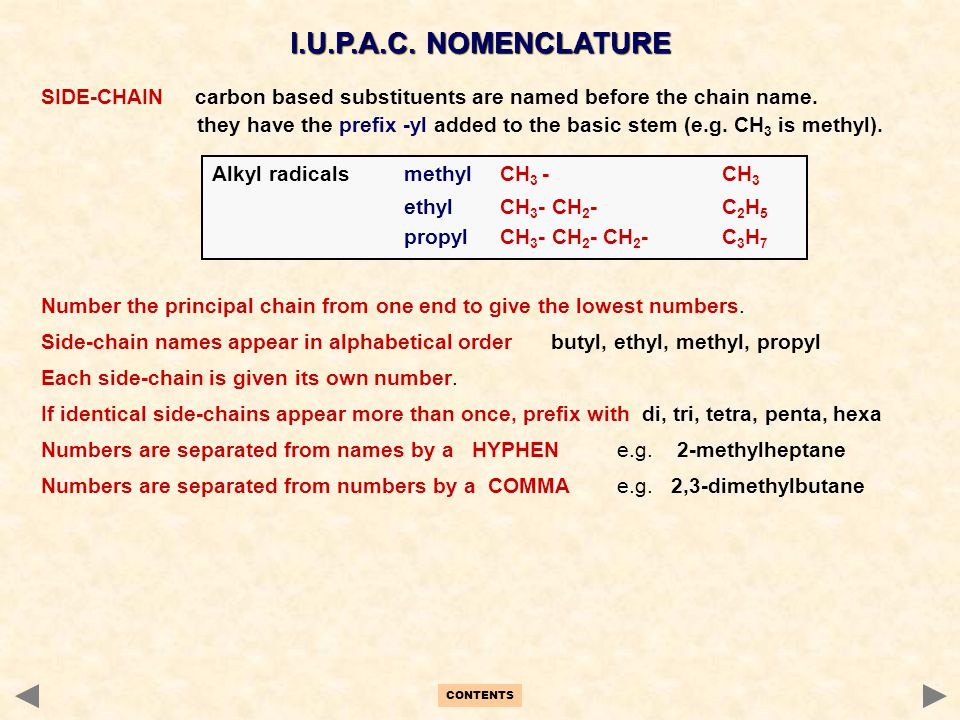 I.U.P.A.C. NOMENCLATURE SIDE-CHAIN carbon based substituents are named before the chain name.