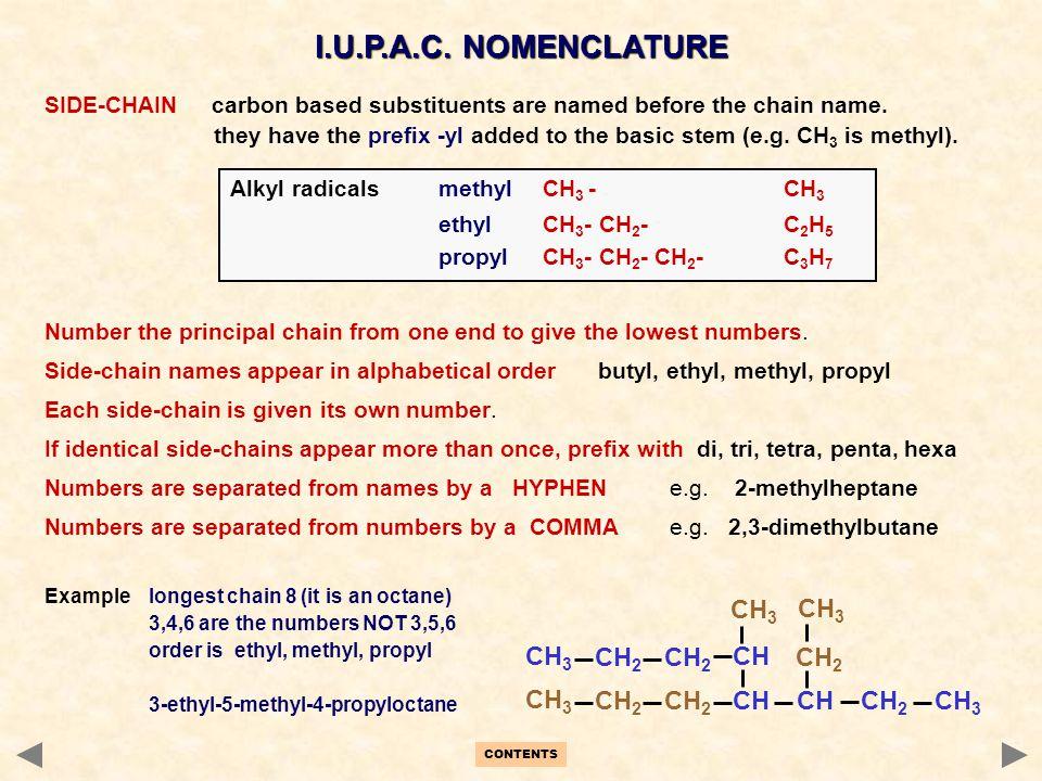 I.U.P.A.C. NOMENCLATURE CH3 CH2 CH