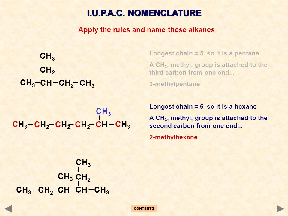 Apply the rules and name these alkanes