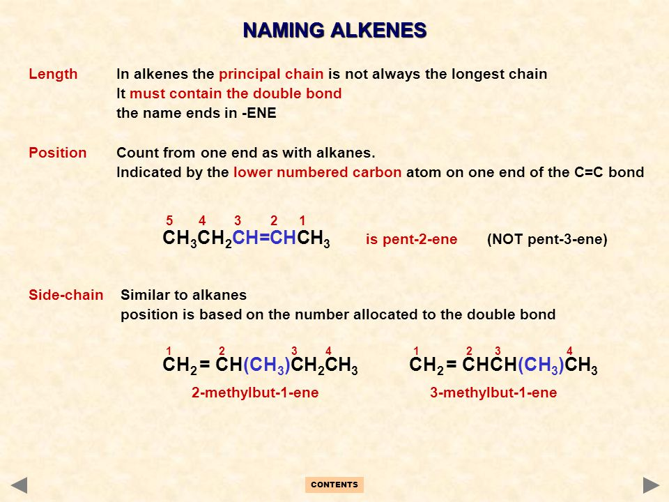 NAMING ALKENES Length In alkenes the principal chain is not always the longest chain. It must contain the double bond.