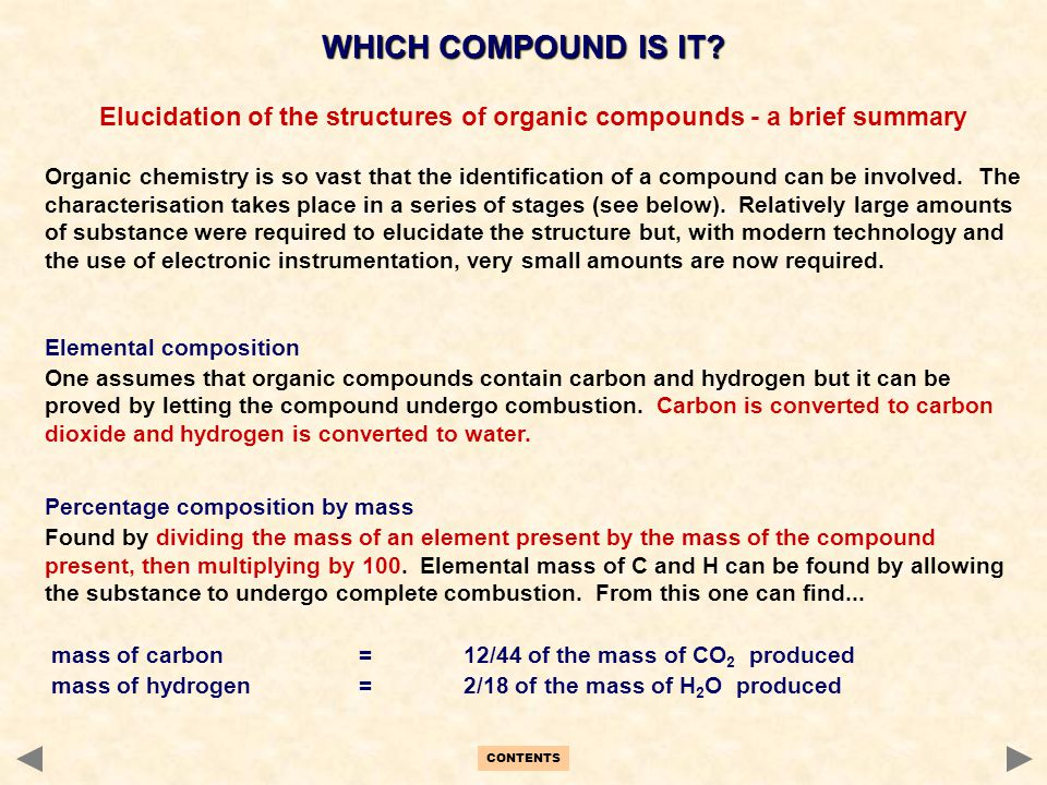 Elucidation of the structures of organic compounds - a brief summary
