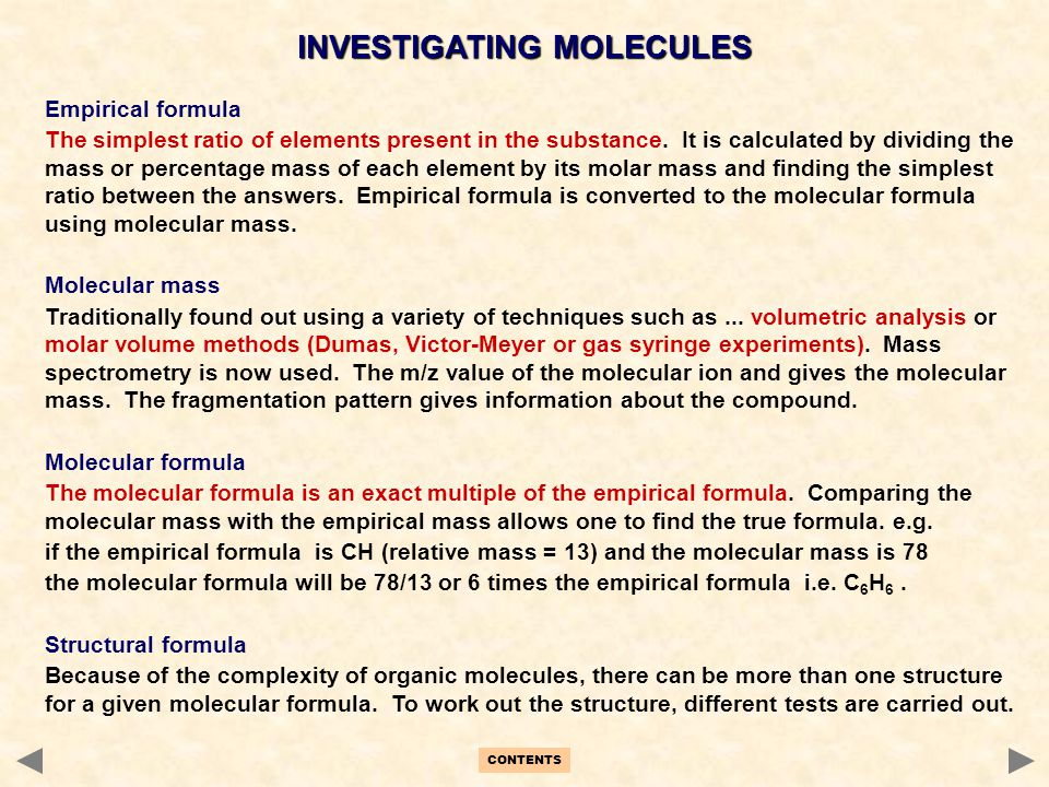 INVESTIGATING MOLECULES