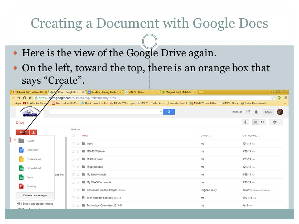 Creating a Document with Google Docs