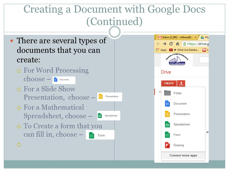 Creating a Document with Google Docs (Continued)