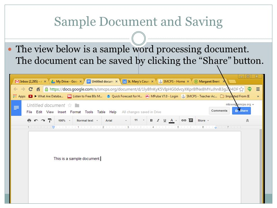 Sample Document and Saving