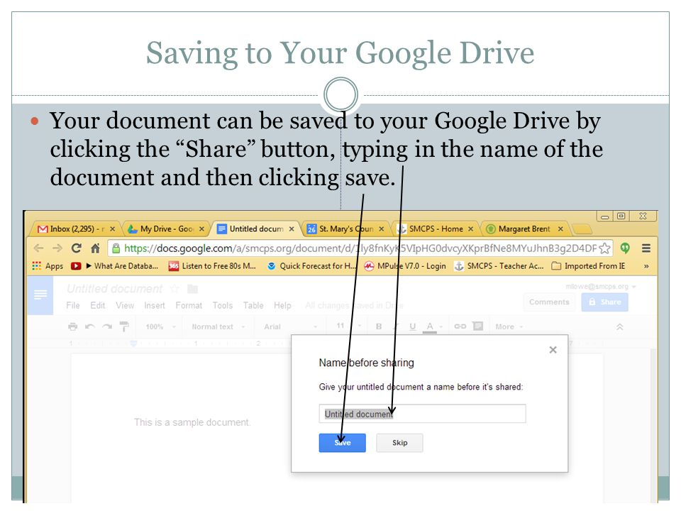 Saving to Your Google Drive