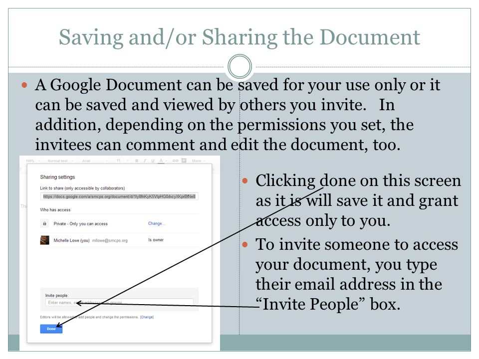 Saving and/or Sharing the Document