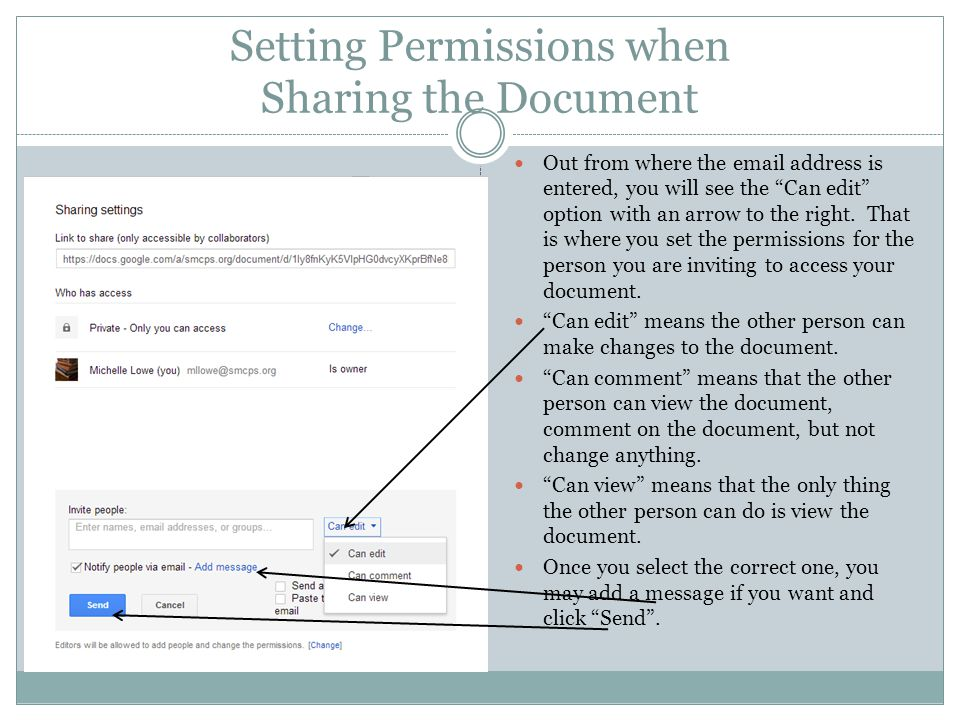 Setting Permissions when Sharing the Document