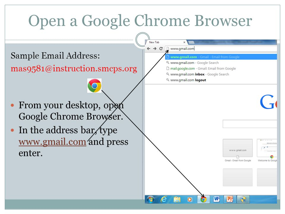 Open a Google Chrome Browser