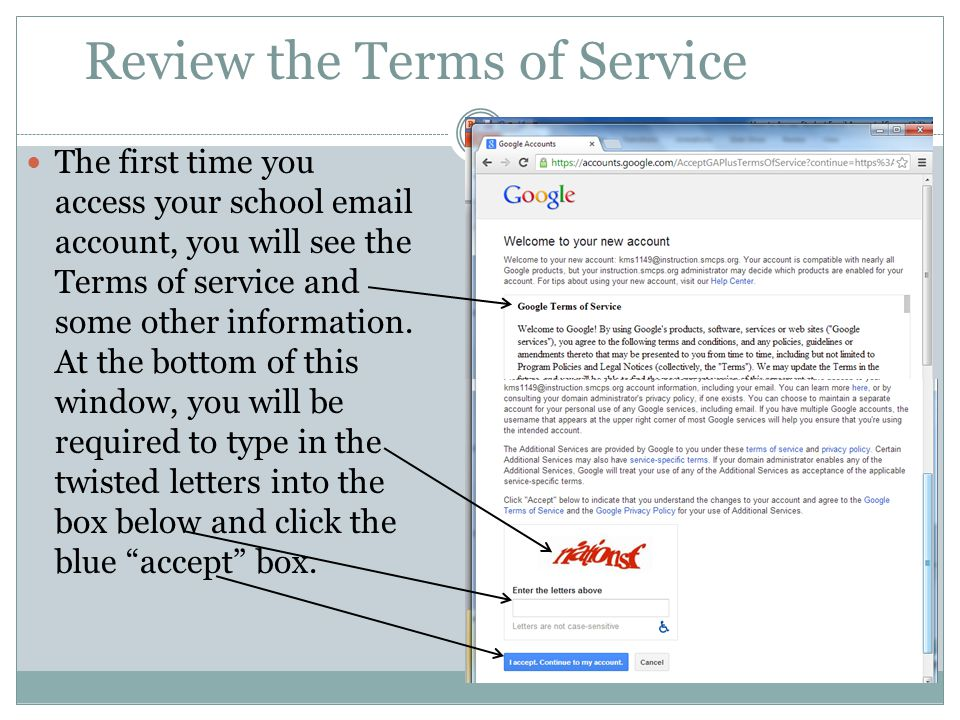Review the Terms of Service