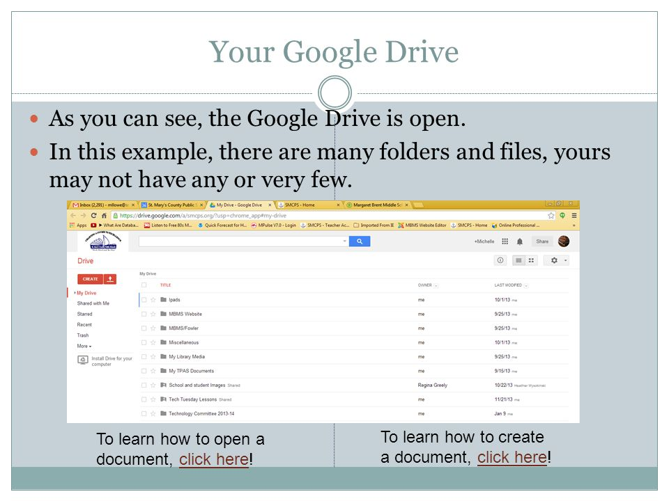 Your Google Drive As you can see, the Google Drive is open.