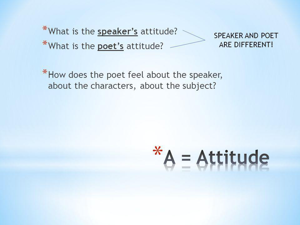 SPEAKER AND POET ARE DIFFERENT!