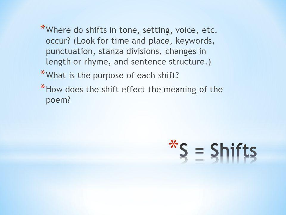 Where do shifts in tone, setting, voice, etc. occur