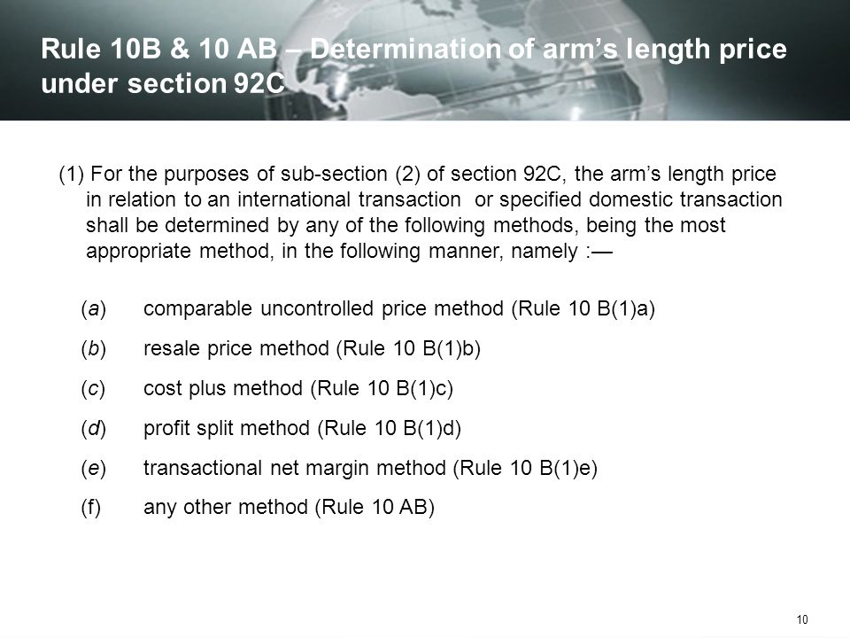 Rule 10B & 10 AB – Determination of arm's length price under section 92C