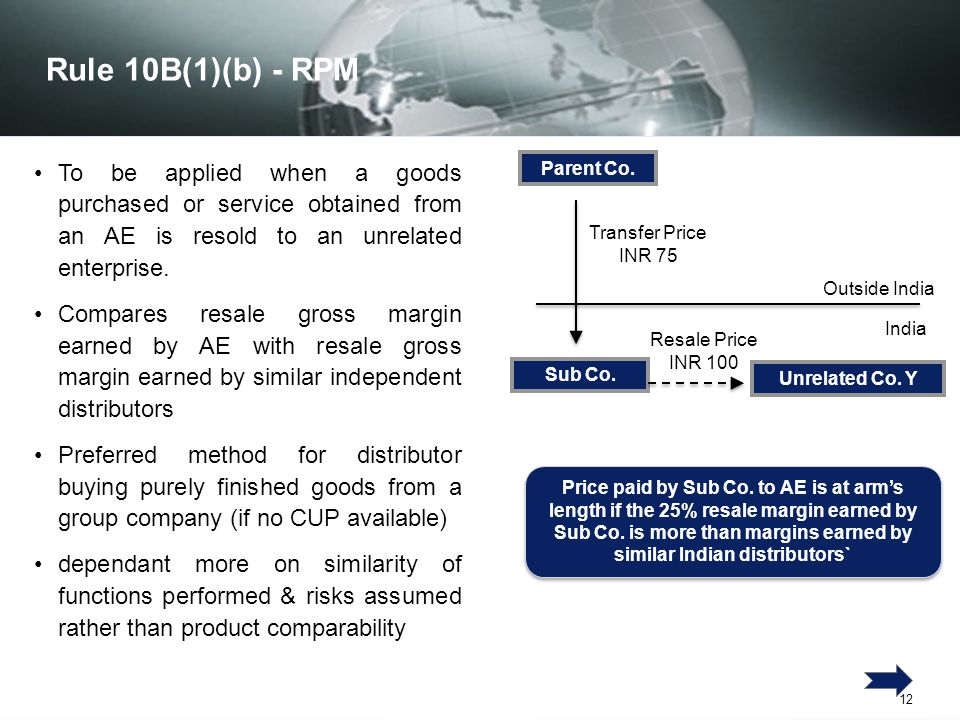 Rule 10B(1)(b) - RPM To be applied when a goods purchased or service obtained from an AE is resold to an unrelated enterprise.