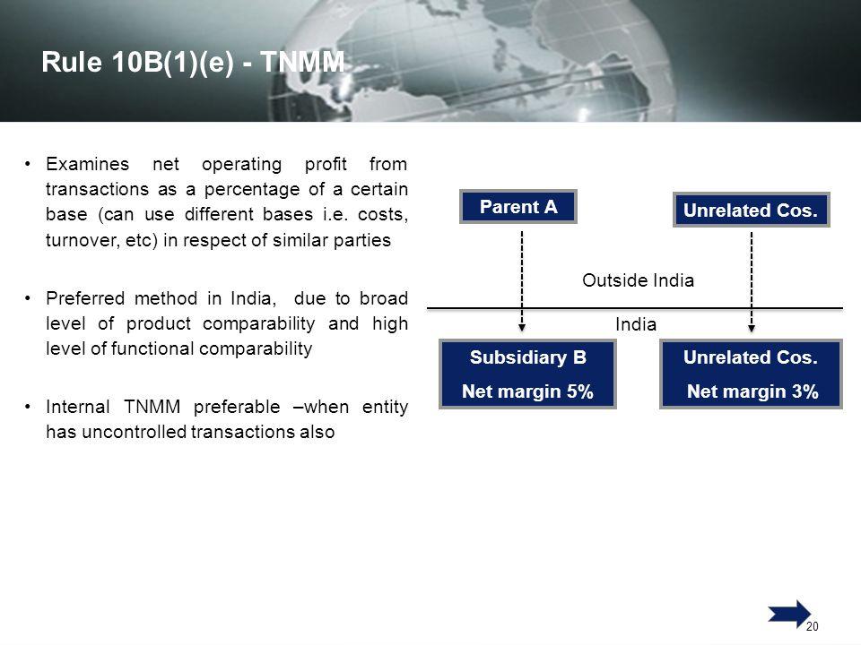 Rule 10B(1)(e) - TNMM