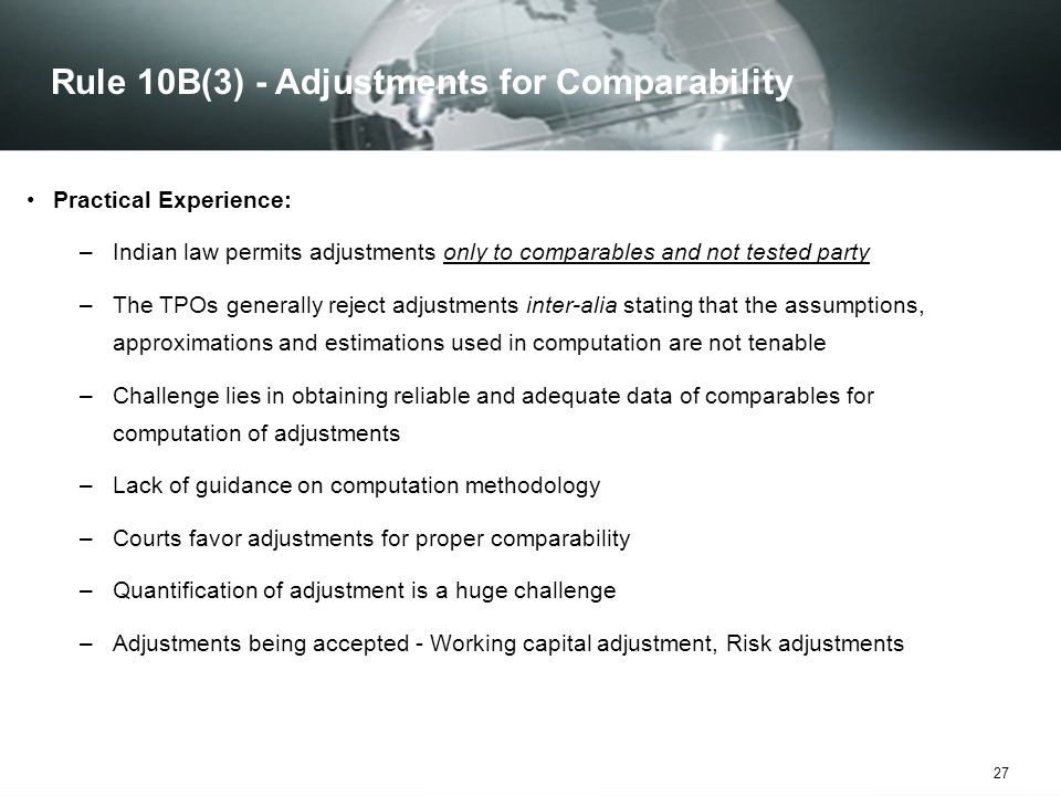 Rule 10B(3) - Adjustments for Comparability