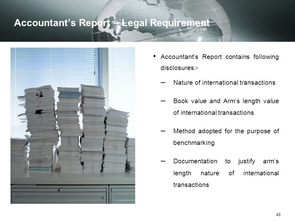 Accountant's Report – Legal Requirement