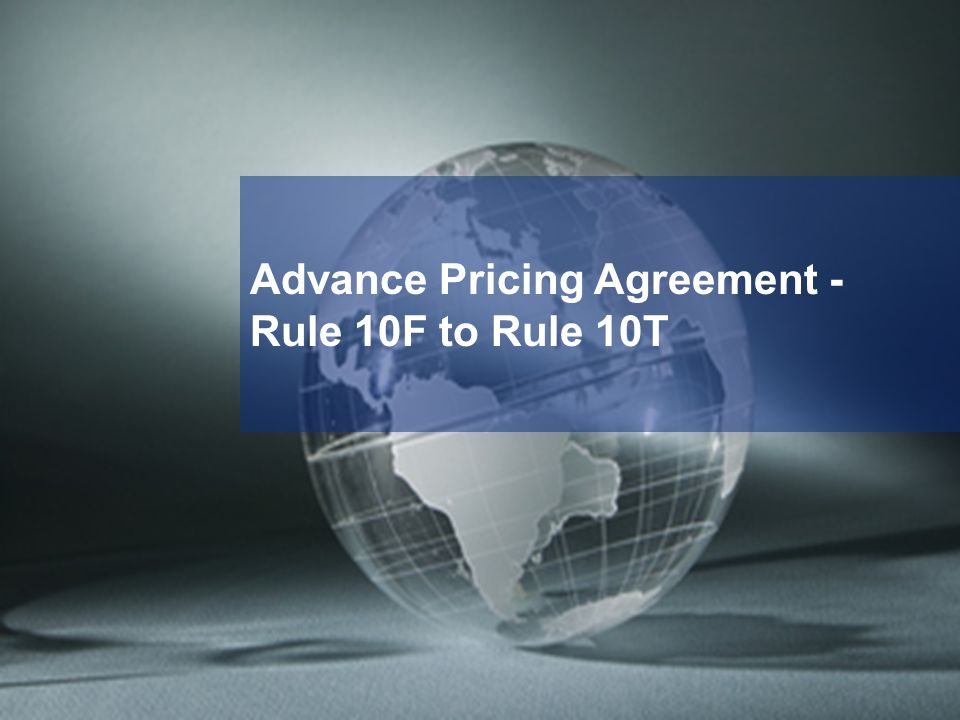 Advance Pricing Agreement -