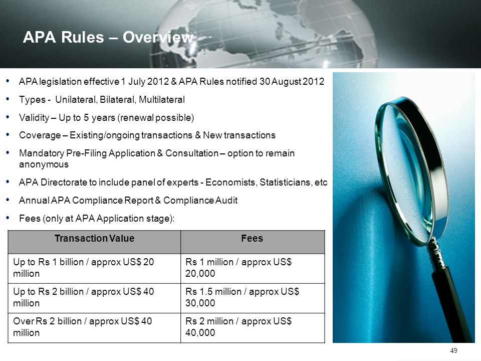 APA Rules – Overview APA legislation effective 1 July 2012 & APA Rules notified 30 August 2012. Types - Unilateral, Bilateral, Multilateral.