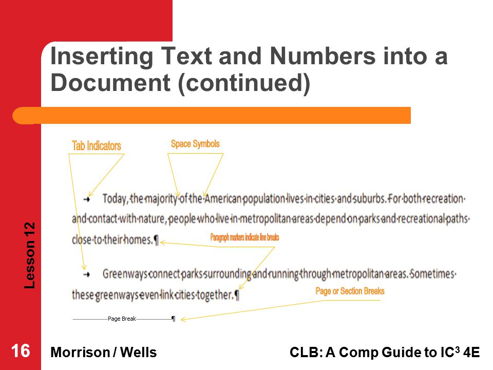Inserting Text and Numbers into a Document (continued)