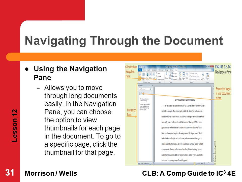 Navigating Through the Document