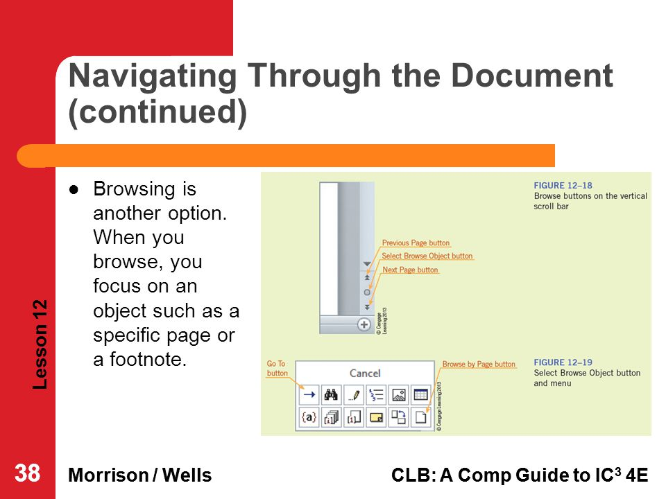 Navigating Through the Document (continued)