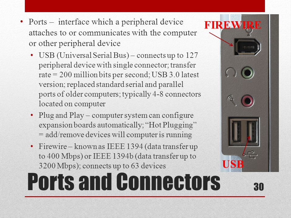 Ports and Connectors Firewire USB