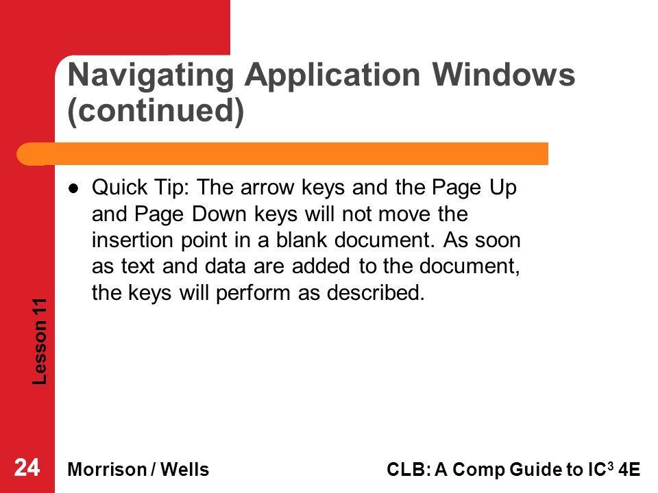 Navigating Application Windows (continued)