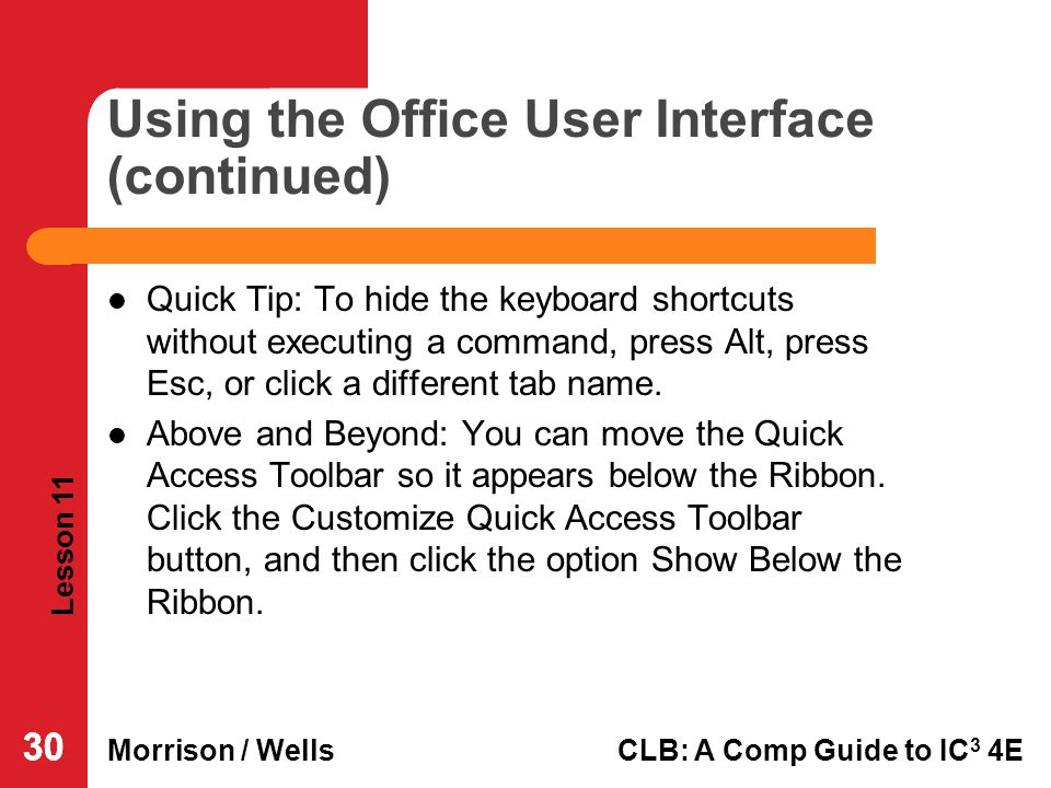 Using the Office User Interface (continued)