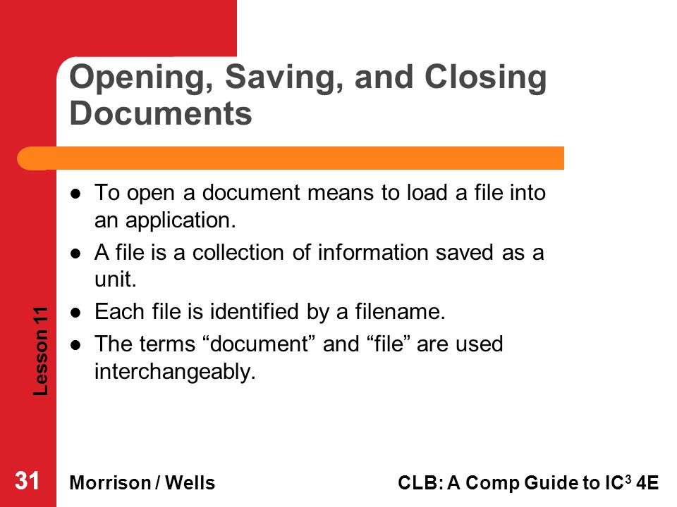 Opening, Saving, and Closing Documents