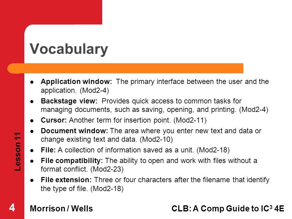 Vocabulary Application window: The primary interface between the user and the application. (Mod2-4)