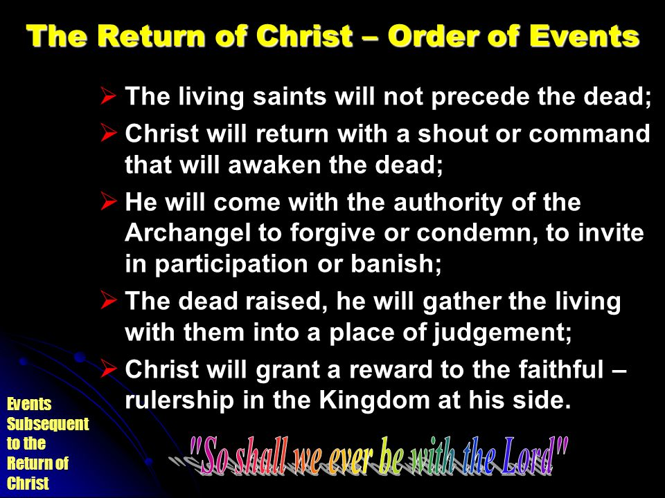 The Return of Christ – Order of Events