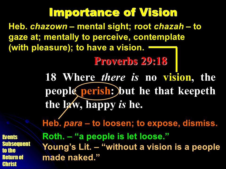 Importance of Vision Proverbs 29:18