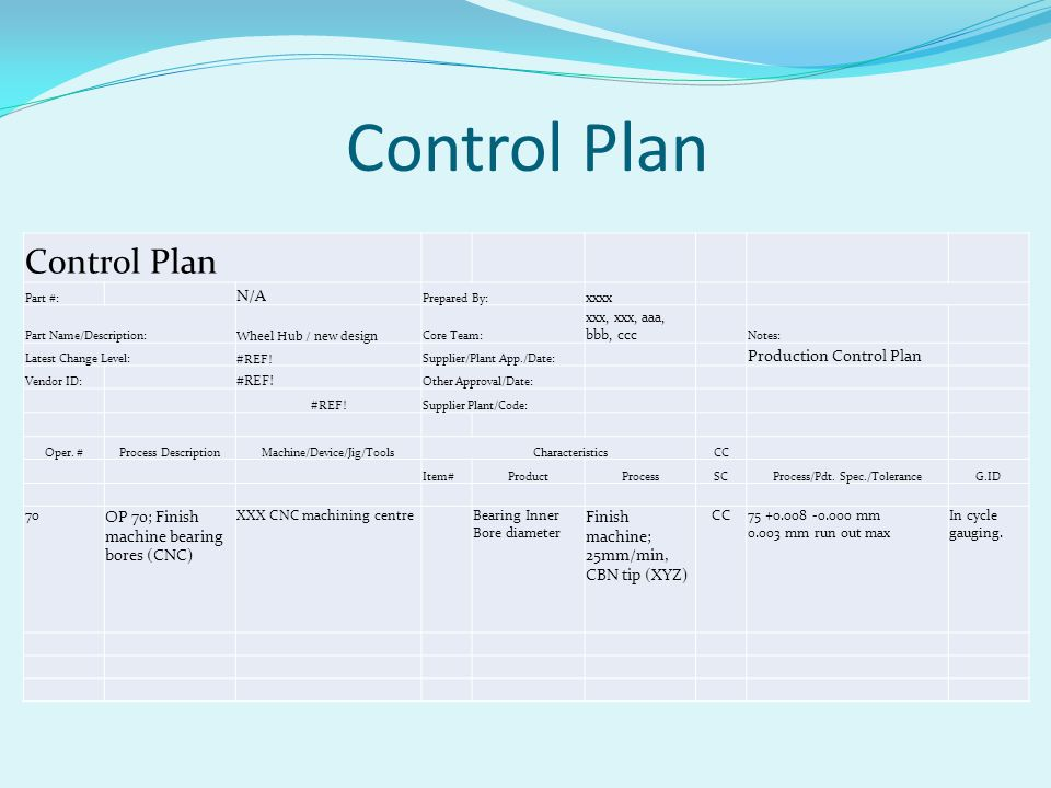 Control Plan Control Plan N/A Production Control Plan