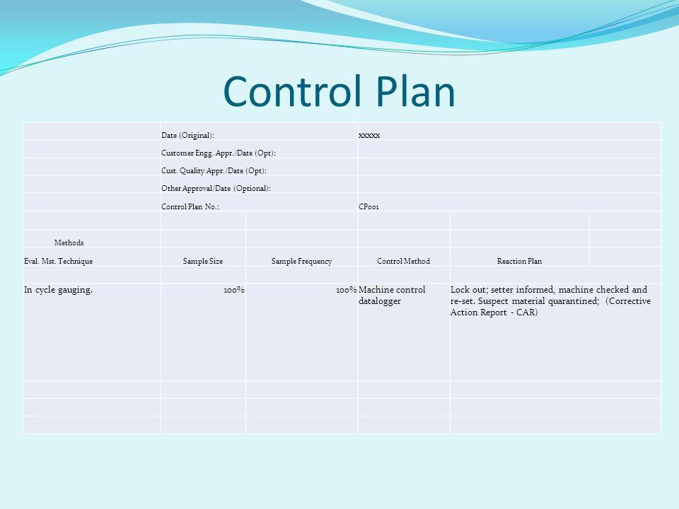 Control Plan xxxxx In cycle gauging. 100% Machine control datalogger