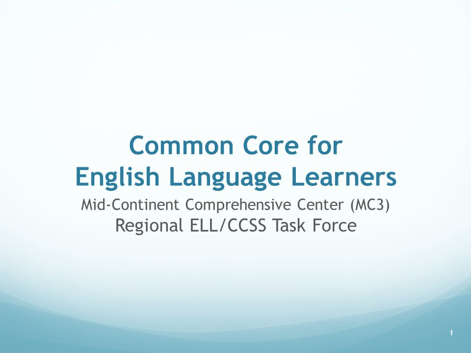 Common Core for English Language Learners