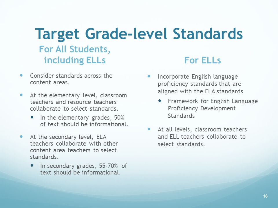 Target Grade-level Standards