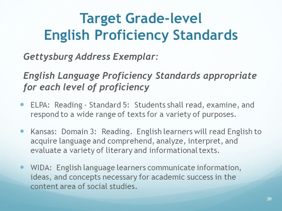 Target Grade-level English Proficiency Standards