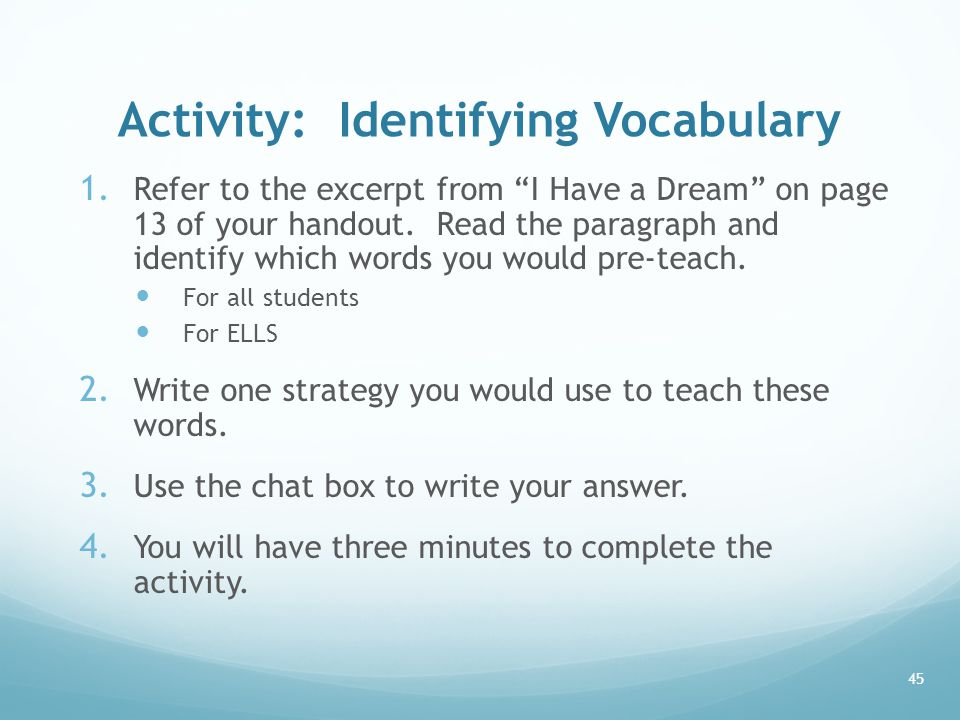 Activity: Identifying Vocabulary