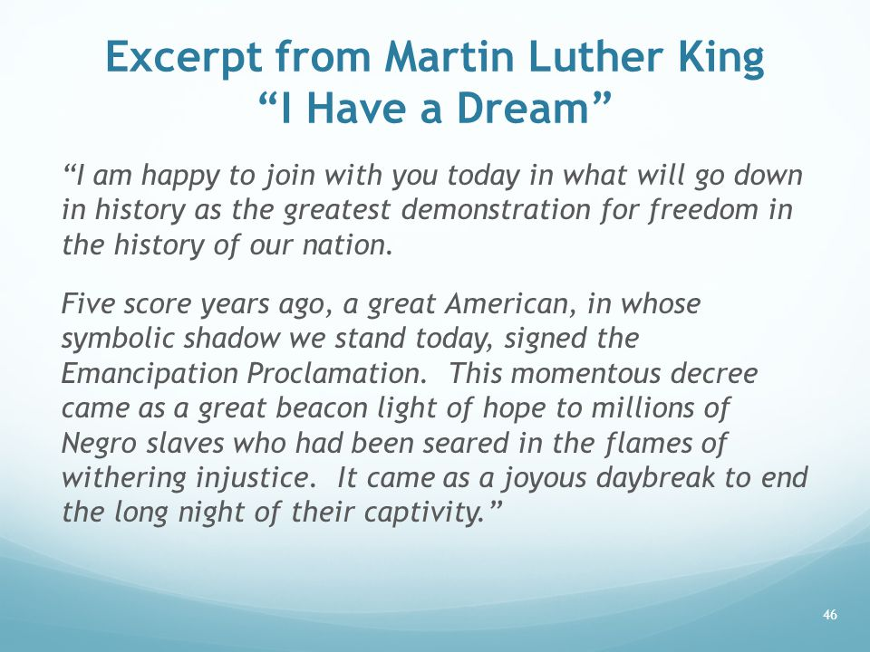 Excerpt from Martin Luther King I Have a Dream