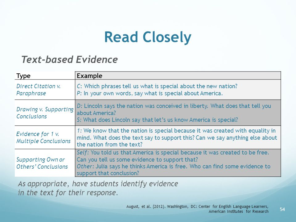 Read Closely Text-based Evidence
