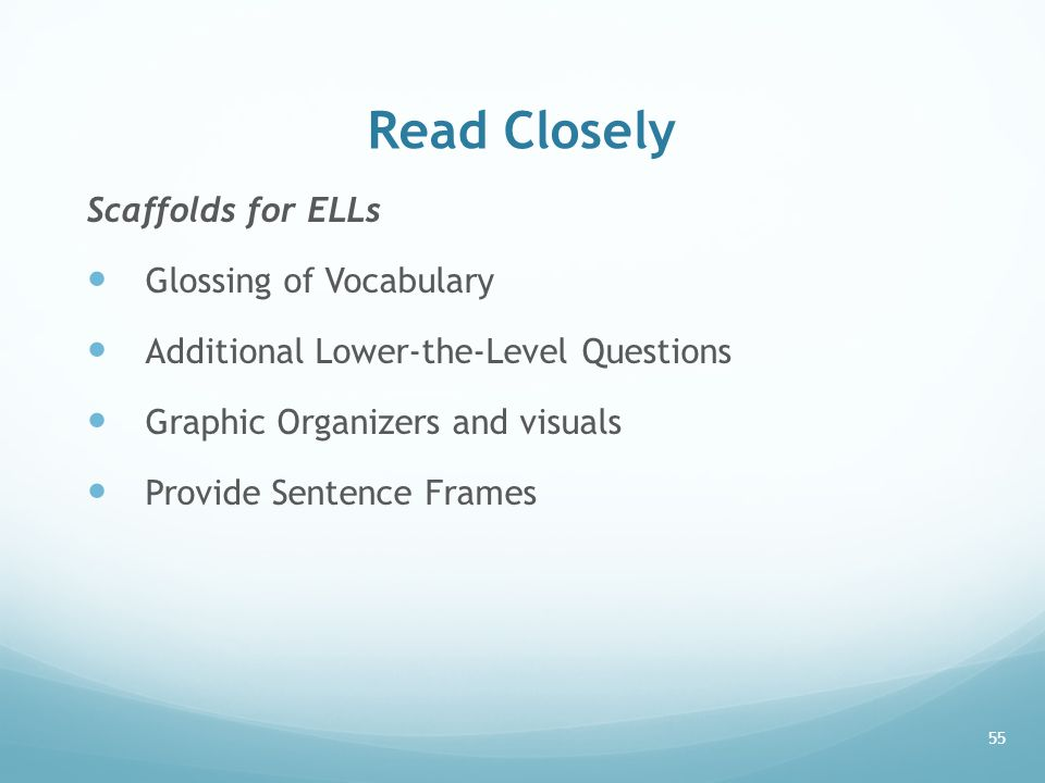 Read Closely Scaffolds for ELLs Glossing of Vocabulary