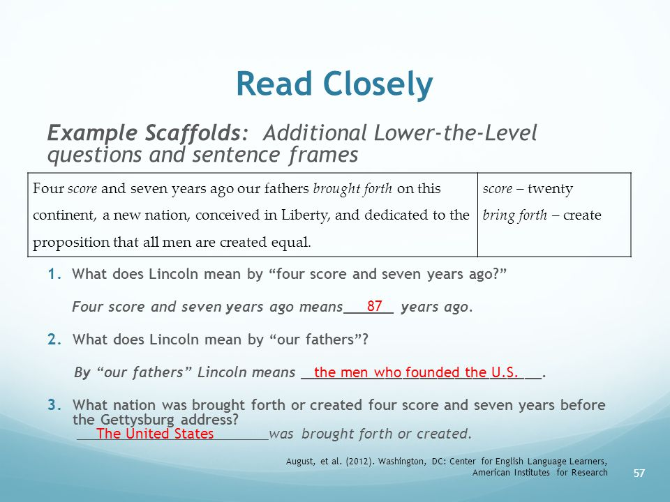 Read Closely Example Scaffolds: Additional Lower-the-Level questions and sentence frames.