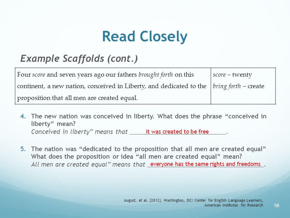 Read Closely Example Scaffolds (cont.)
