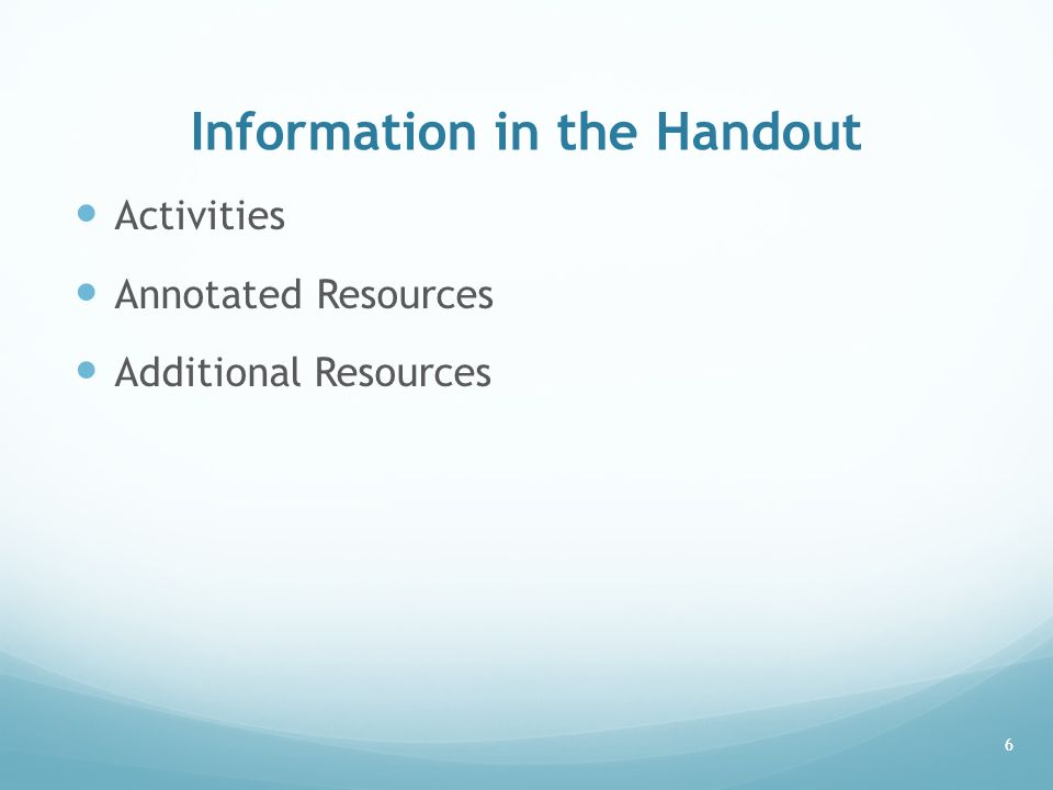 Information in the Handout