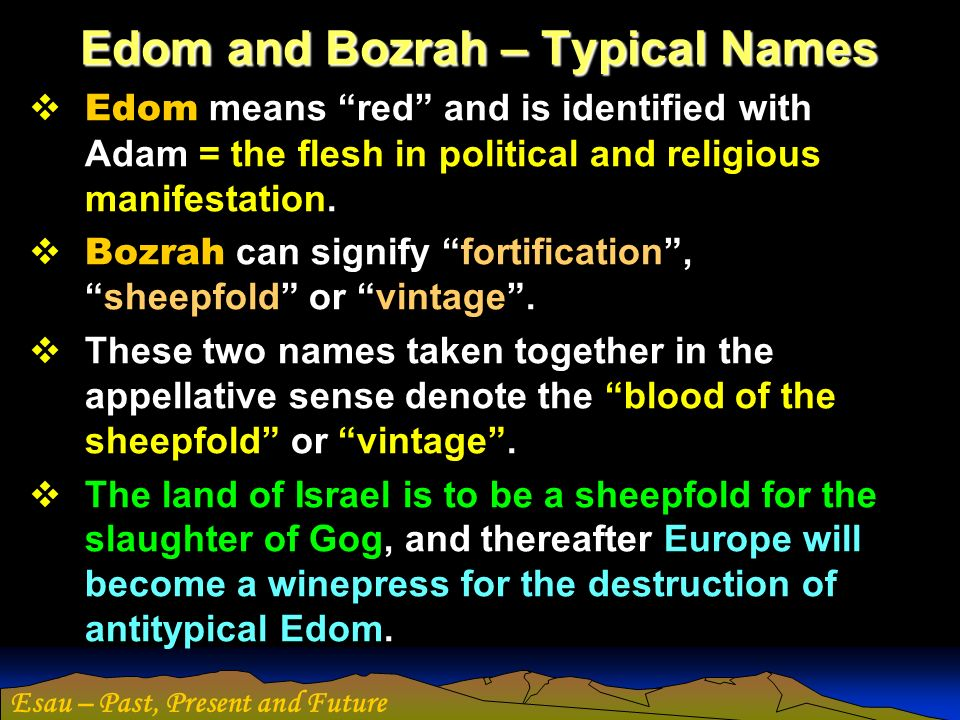 Edom and Bozrah – Typical Names
