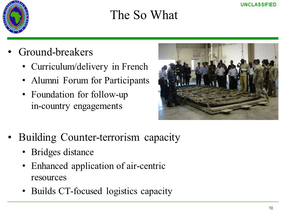 The So What Ground-breakers Building Counter-terrorism capacity
